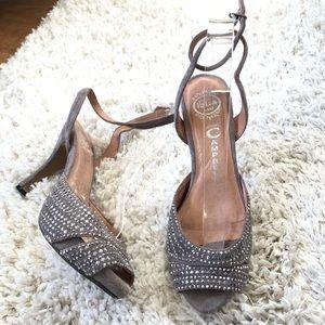Jeffrey Campbell gray suede stud heels 7.5